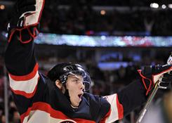 Jeremy Morin, who won gold with the USA at the last world junior championships, has been a call-up by the Chicago Blackhawks this season.