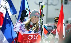 Lindsey Vonn reacts after winning the women's downhill race in Val d'Isere, France.
