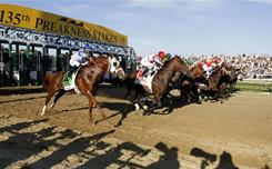 Horses break from the gate during the 135th Preakness Stakes at Pimlico Race Course in Baltimore. A tentative agreement was reached Wednesday to keep the Preakness in Maryland and allow a full calendar of 146 racing days at the track.