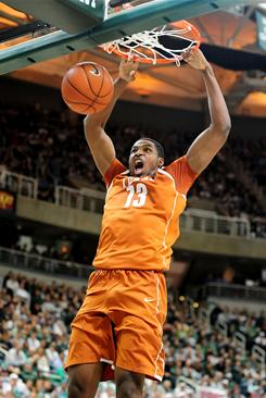 Texas forward Tristan Thompson dunks during the first half of the Longhorns' 67-66 win over Michigan State.