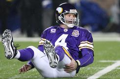 Vikings quarterback Brett Favre was knocked out with a concussion during the second quarter of Monday night's loss to the Bears.