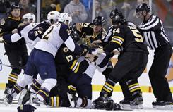 The Bruins came to Milan Lucic's defense last week after he was flattened by an elbow from the Thrashers' Freddy Meyer. Five players were ejected in the ensuing brawl.