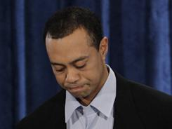 Tiger Woods pauses during a Feb. 19 news conference in Ponte Vedra Beach, Fla.