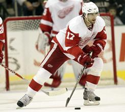 Red Wings right wing Patrick Eaves scored his first career hat trick Wednesday against the Stars.