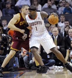 Charlotte Bobcats guard forward Stephen Jackson drives to the basket against the Cleveland Cavaliers on Wednesday. The Bobcats won 101-92.