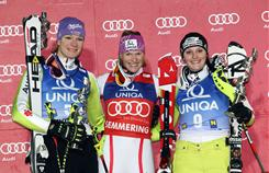 Marlies Schild of Austria (center) won a World Cup slalom on Dec. 29 in Semmering, Austria. Maria Riesch of Germany (left) was second and Christina Geiger of Germany third.