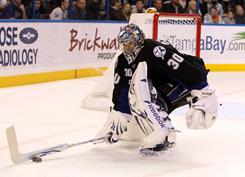 Lightning goaltender Cedrick Desjardins made 27 saves against the Canadiens to win in his NHL debut.