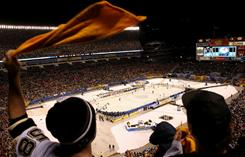 A fan of the Pittsburgh Penguins waves his 'terrible towel' as he cheers during the Winter Classic.