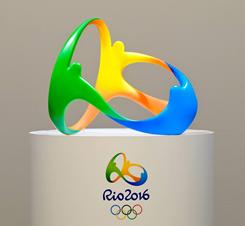 The logo for the 2016 Rio Olympics in Rio de Janeiro, Brazil is displayed.