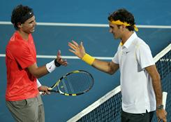 Rafael Nadal, left, of Spain and Roger Federer of Switzerland, the top rivalry in tennis, headline the field this week in Doha, Qatar. The two faced off Saturday in an exhibition final in Abu Dhabi, won by Nadal.