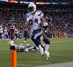 Chargers running back Ryan Mathews gashed the Broncos defense for 120 yards and three touchdowns.