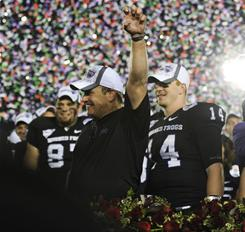 TCU head coach Gary Patterson celebrates with his team during the Rose Bowl trophy presentation.