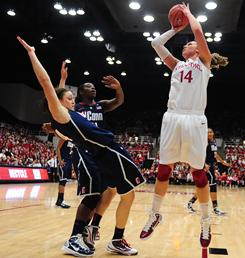 Stanford's Kayla Pedersen (14) shoots against the Huskies during the second half at Maples Pavilion in the game that ended UConn's winning streak.