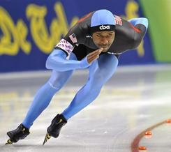 Shani Davis of the U.S. competes in the men's 1,000-meter race at a World Cup in Obihiro, Japan, on Dec. 11.