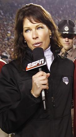 ESPN's Jeannine Edwards working the sideline at Florida State this past season.