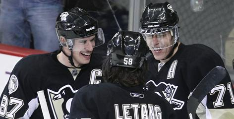 Pittsburgh's Sidney Crosby (left), Kris Letang (center) and Evgeni Malkin will join teammate Marc-Andre Fleury at the 2011 All-Star Game Jan. 30 in Raleigh, N.C.
