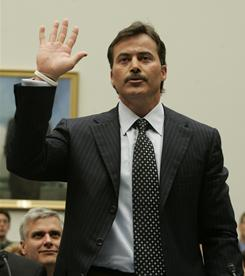 Rafael Palmeiro emphatically denied using steroids at this 2005 congressional hearing. Later that year, he tested positive for a performance-enhancing substance.