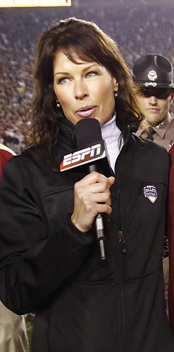 Jeannine Edwards, left, was the target of insulting remarks by a male colleague. The colleague, Ron Franklin, was fired by ESPN.