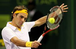 Roger Federer lines up a backhand during his straight-sets victory Friday against Jo-Wildried Tsong of France in the semifinals of the ExxonMobil Qatar Open in Doha.