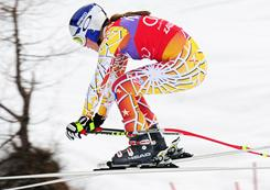 Lindsey Vonn briefly went airborne en route to winning the World cup downhill in Zauchensee, Austria, on Saturday.