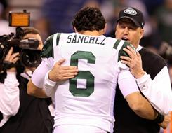 Rex Ryan, right, Mark Sanchez and the Jets defeated the Colts on Saturday.