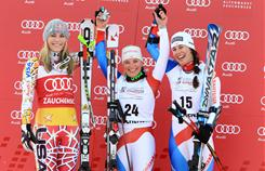 Lara Gut of Switzerland (center) won a World Cup super-G in Zauchensee, Austria, on Jan. 9. American Lindsey Vonn was second; Dominique Gisin of Switzerland took third.