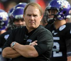 TCU head coach Gary Patterson, watching his Horned Frogs team beat the Wisconsin Badgers in the 2011 Rose Bowl, feels his team should have had a shot at the national championship game.