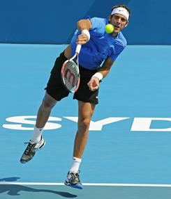 Juan Martin Del Potro of Argentina fires a serve during his loss to Florian Mayer of Germany on Wednesday in the second round of the Sydney International.