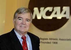 NCAA President Mark Emmert speaks during the Indiana Sports Corporation meeting in the fall. Emmert has a full agenda in San Antonio this week at his first national convention: academic reform, tougher penalties for rule-breakers and a weeding out of agents and AAU coaches.