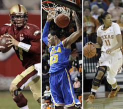 Boston College quarterback Chase Rettig, left, UCLA forward Tyler Honeycutt, center, and Texas guard Chelsea Bass in action this season.