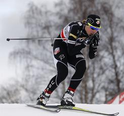 American Kikkan Randall competes on track during a qualifying run in the women's 1.3 kilometer free sprint cross country World Cup event in Liberec, Czech Republic, Saturday's victory was Randall's second career World Cup win.