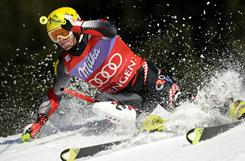 Croatia's Ivica Kostelic clears a gate during the second run of the  men's World Cup slalom on Jan. 16  in Wengen. Kostelic won the event.  A