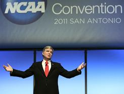 NCAA President Mark A. Emmert speaks during the NCAA convention in San Antonio last week.