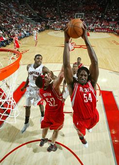 Houston Rockets rookie Patrick Patterson goes to the basket during their game against the Toronto Raptors on Dec. 31, 2010. Patterson was assigned to the D-League earlier this season.