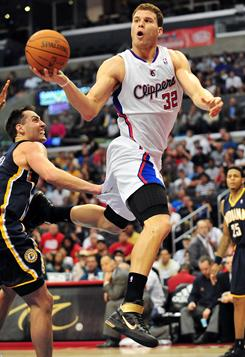 Clippers power forward Blake Griffin (32) passes the ball during Monday's game against the Indiana Pacers at the Staples Center in Los Angeles. Griffin's 47 points were a career high.