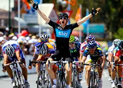 Britain's Ben Swift reacts as he wins stage two of the 2011 Tour Down Under on Wednesday. Swift claimed his first major win of the season after surviving the crash-marred finale to the stage.