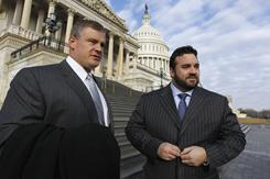 Pete Kendall, left, and Jeff Saturday were among the players who went to Capitol Hill to lobby Congress on Wednesday.
