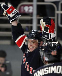 Rangers right wing Marian Gaborik reacts after scoring a second-period goal Wedesday that gave him a hat trick against the Maple Leafs at Madison Square Garden in New York. Gaborik finished with four goals and an assist in New York's 7-0 win over Toronto.