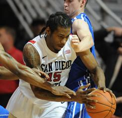 Kwahi Leonard (15) had 10 points and 10 rebounds to help San Diego State extend the nation's longest active win streak to 20 games.