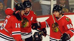 From left, Jonathan Toews, Patrick Sharp and Patrick Kane remain with the Blackhawks, but 10 players from their Stanley Cup-winning team are gone.