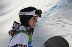 U.S. Olympic snowboarder Kelly Clark finishes her first qualification run at the Vancouver Olympics.