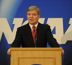 A goal of NCAA president Mark Emmert's is to change the public's perception that the organization is flush with cash.