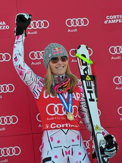Lindsey Vonn is no stranger to skiing with pain. She won Olympic gold and bronze medals with a badly bruised shin. She won a World Cup super-G event over the weekend with a sprained knee.