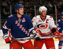 Eric Staal of the Carolina Hurricanes, right, is one of the All-Star captains that will choose players for this year's game. His brother Marc of the New York Rangers, left, is one of the All-Stars that will be chosen.