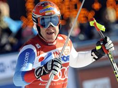 Switzerland's Didier Cuche reacts at finish line after winning a World Cup alpine ski downhill race, in Chamonix, France on Saturday.