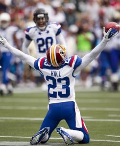 NFC cornerback DeAngelo Hall, of the Washington Redskins, celebrates an interception during the first quarter of the Pro Bowl in Honolulu.