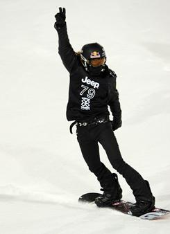 Shaun White celebrates at the end of his second run during the Men's SuperPipe finals at the ESPN Winter X Games 15 on Sunday.