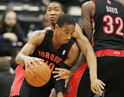 Toronto rookie DeMar DeRozan (10) has increased his minutes from 21.6 to 33.7 and points from 8.6 to 15.5.
