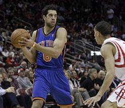 The Knicks' Landry Fields, left, is third among all rookies in scoring at 10.1 points a game.