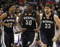 From left, Rudy Gay, Zach Randolph and Marc Gasol have the Memphis Grizzlies fighting for a playoff spot in the loaded Western Conference.